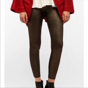 UO Out From Under Gold Shimmer Metallic Leggings